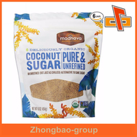 Stand up custom printed zip lock coconut sugar pouch bag in guanghzou factory