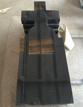 Chinese Shanxi Black Granite Cross Style Headstones