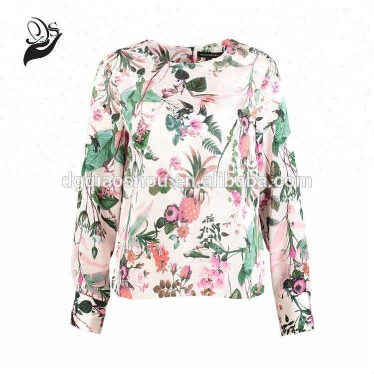Women Print Casual Floral Ladies Long Sleeve Tops Blouses