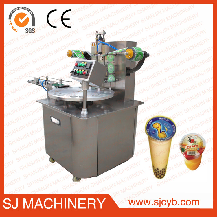 Plastic cup filling sealing machine for 2 cups rolled film packing machine
