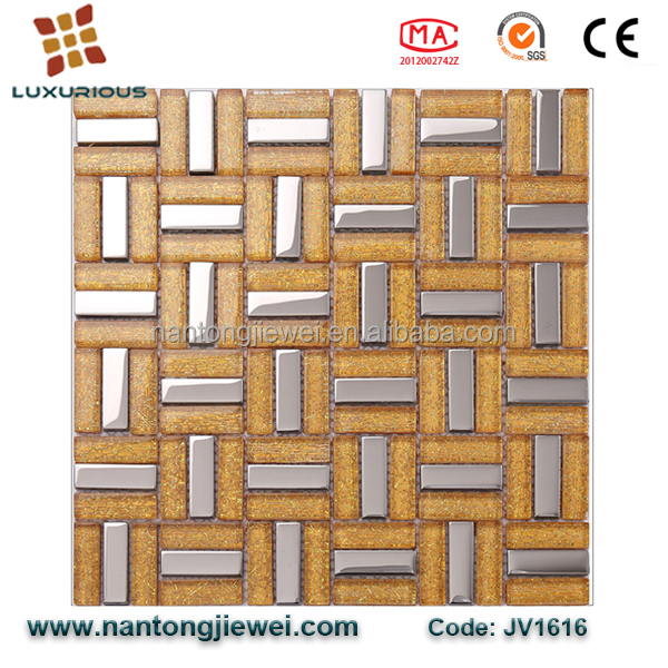 Photo Frame Shape Cheap Gold Color Metal Mix Glass Mosaic Tiles for Backsplash Decoration In India