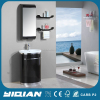 Luxury Corner Mirrored Cabinet Set Round Single Sink Free Standing PVC Bathroom Cabinet Unit