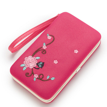 Metal wallet frame Pidanlu leather handmade wallet with embroidered flower