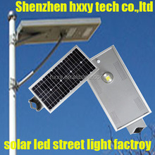 HXXY all in one 60w solar street light, integrated solar street lighting system with day night sensor