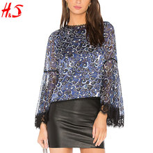 2018 Trending Products Elegant Crewneck Lace Trimming Silk Blouse For Women With Exposed Zipper At Back