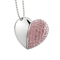 Multifunction Jewelry Diamond Heart Shaped Pendant 128Gb 4Gb Usb 3 Disk Fashion Crystal Necklace 256Gb 32Gb Stick Flash Drive