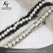 2018 new design 2.5cm big pearl bead lace trim for garment decoration,wedding dress decoration lace trimming