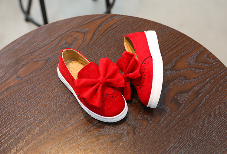2017 autumn girl's new big bowknot suede feet casual princess shoes wholesale