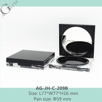 AG-JH-C-209B Cosmetic Packaging Quadrate Transparent Custom Acrylic Compact Powder Case With Mirror