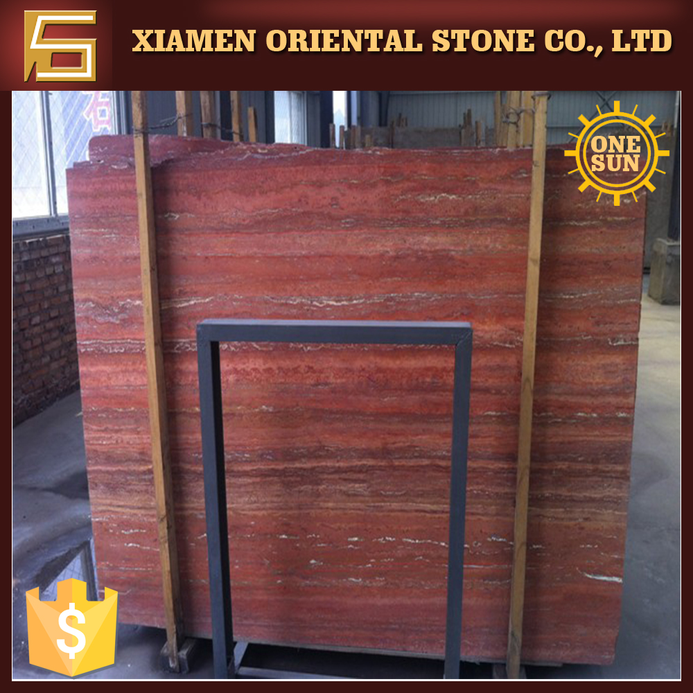 Red travertine marble stone from armenia with low price