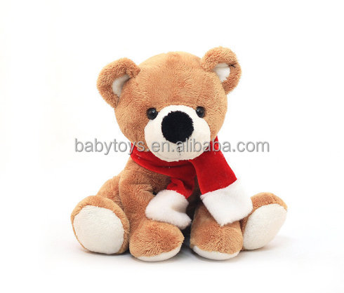 Christmas scarf stuffed plush teddy bear toy for xmas gifts