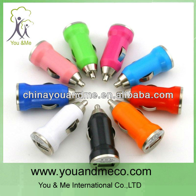 Universal mobile phone usb car charger 12V 1A 2.1A Colorful Electric