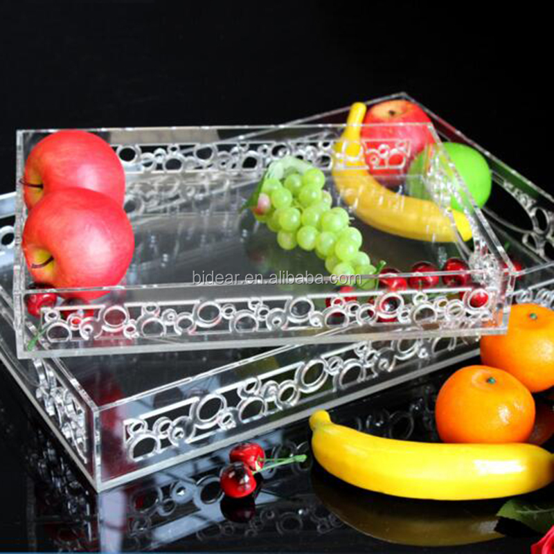 laser carved swirl acrylic banquet serving tray