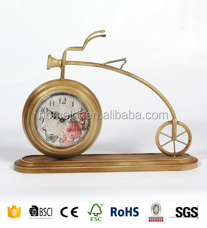 Hot Selling Home Decorative Clock Square Antique MDF Wooden Table Clock