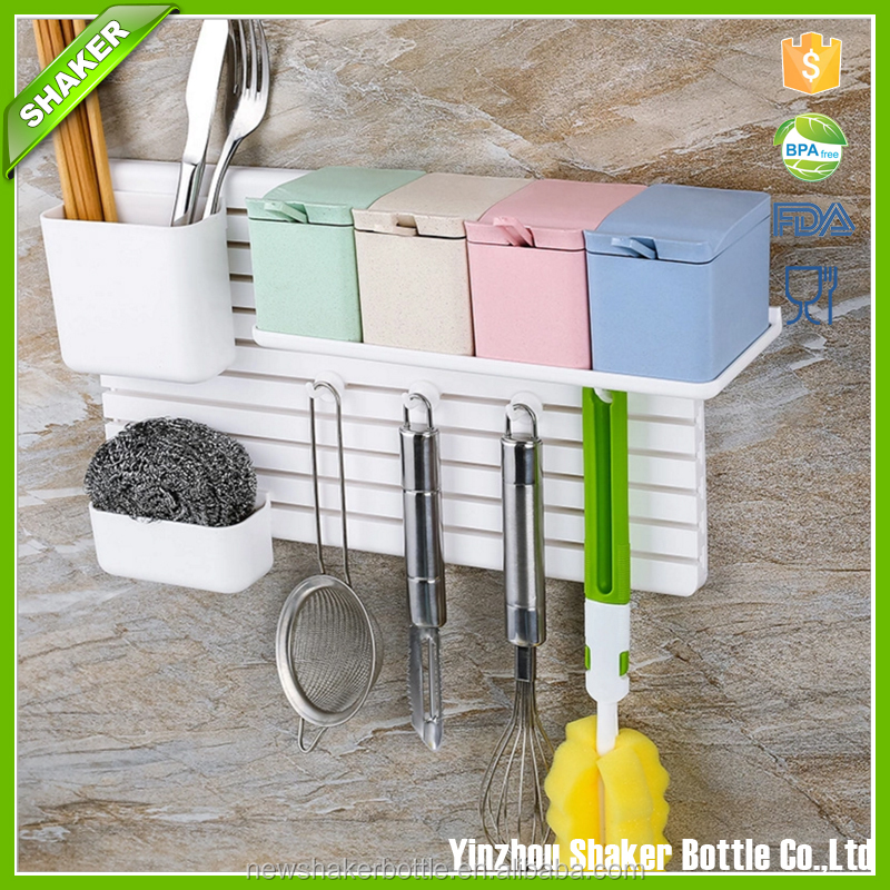 Kitchen Storage Rack Hooks Wall Mounted Organizer,multifunctional shelve for kitchen and bathroom,DIY plastic shelve