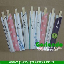 Chinese disposable bamboo chopsticks with logo on wrapped paper