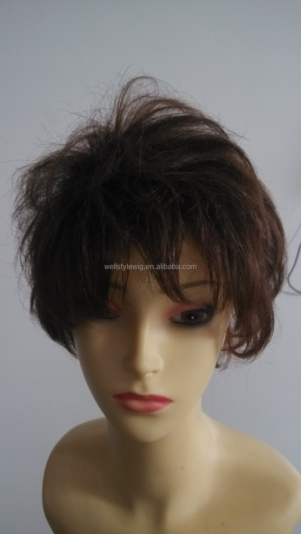 Factory price natural looking full cuticle indian short human hair wig for black women