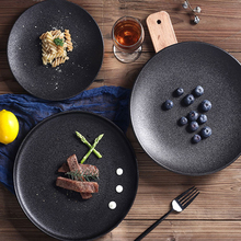 Wholesale Black Matte Ceramic Round Dinner Flat <strong>Plate</strong> Matte Steak <strong>Plate</strong> 10inch for Restaurant