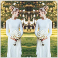 Modest Ivory Ball Gown Bridal Gown ,High Collar Lace Appliqued Long Sleeve Wholesale Muslim Bridal Wedding Dress(WD019)