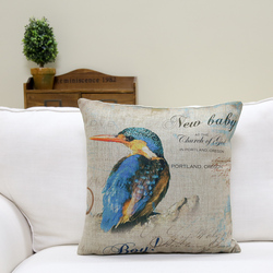 European style colorful bird design printed square shape cotton and linen fabric cushion