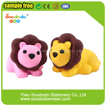 Promotional Cute 3D Fancy Lion Shaped Eraser For Kids
