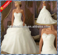 Sweetheart beaded organza puffy skirt cheap wedding dresses made in china