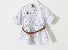 New Style Girls Floral T-shirt With Belt Long Sleeve Girls Tops Cotton Kids Blouses For Girls Wear Free Shipping GT41231-16