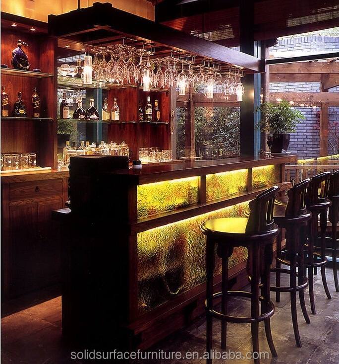 English Pub furniture illuminated bar counter for sale