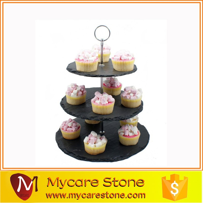 Economical 3 Layer Slate Cake Plate