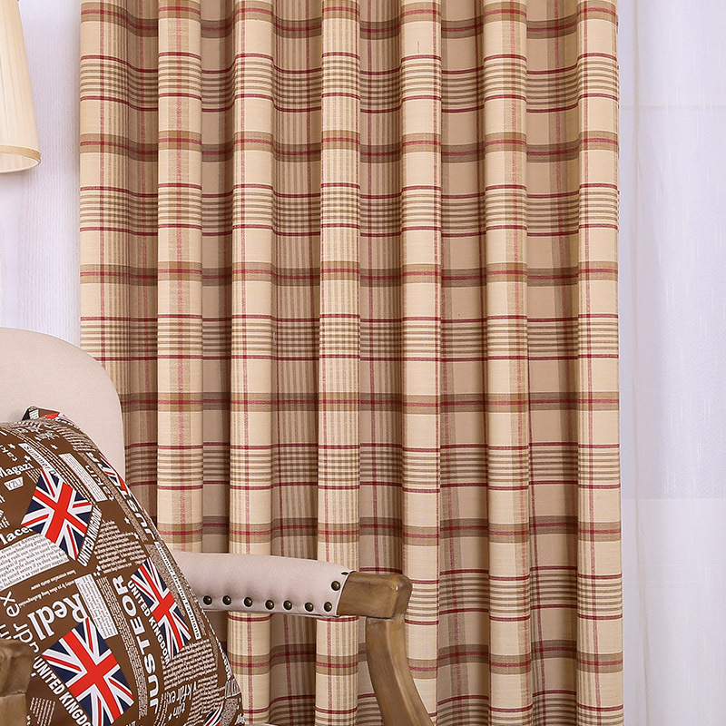 Brown big plaid cotton and linen printed window shade