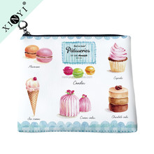 Fancy cupcake print pu leather travel toiletry bag fashion design custom ladies cosmetic bag promotional