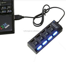 4 Port USB Hub Splliter USB 2.0 Hub USB Splitter With Separate ON/OFF Switch For Laptop Computer Notebook