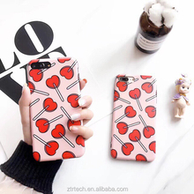 Candy soft tpu silicon IMD phone case for iphone 6 6s plus 7 sweet girl red heart lollipop case for iphone 6plus coque capa