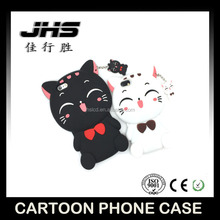 Interesting china products lucky cat custom silicone phone case for iphone 7 silicone case with mini lucky cat shaped pendant