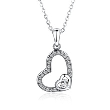 Trendy 925 Sterling Silver White Gold Plated AAA Cubic Zirconia Created Crystal Dual Two Love Heart Pendant Necklace for Women