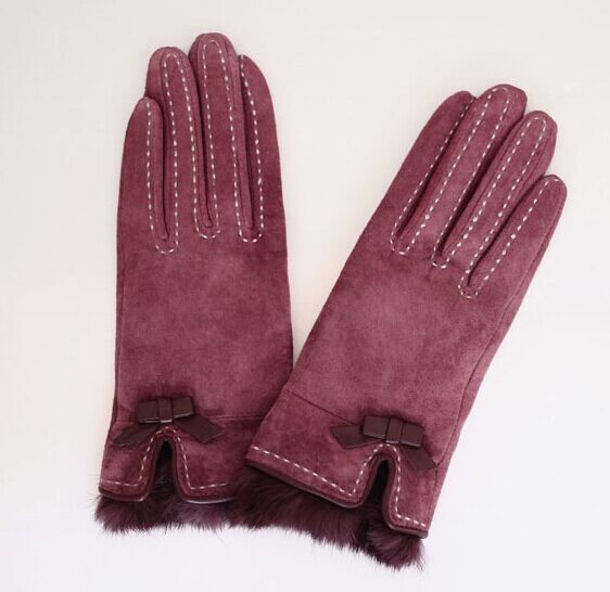 Women fashion double face fur lined leather gloves mittern with bow