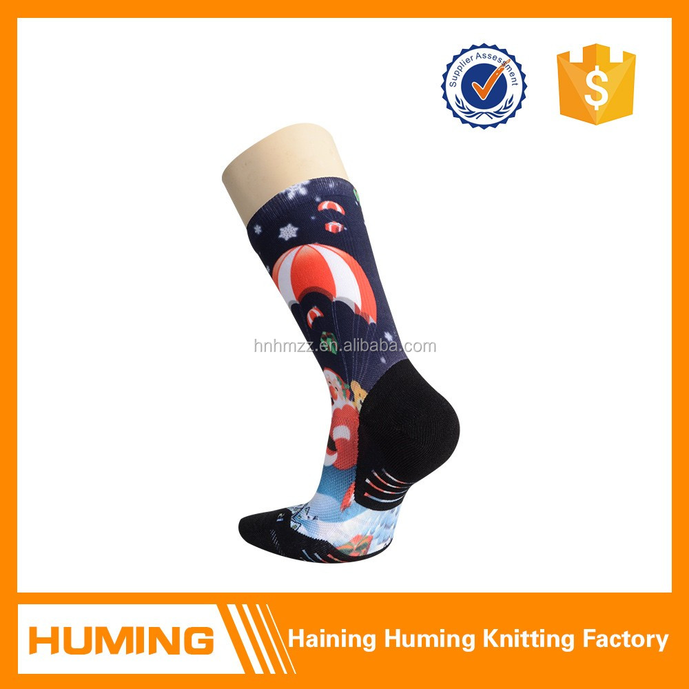 Custom animated pattern print support no blister running socks