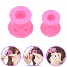10pcs/Set Soft Rubber Pink Magic Hair Care Curler No Clip Silicone Soft Hair Roller