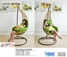 Sexy bedroom furniture rattan egg hanging swing chair with cushion.
