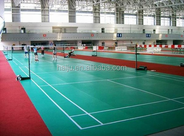 Cheap price synthetic badminton court pvc sports flooring