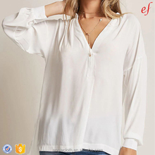 Popover neckline ladies long tops chiffon blouse women