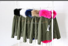 London style Khaki Green fake fur lined parka with real raccoon fur hood collar