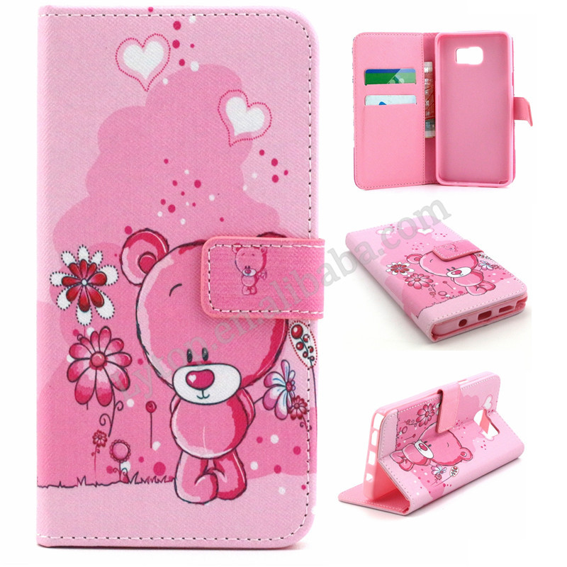 Alibaba Best Selling Fancy Cute Pink Series Girls Style Folio Stand Flip Leather Case for Samsung Note 5