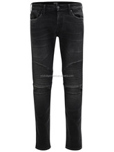 men jeans with leather trim design on legs black denim high quality indigo knit fabric tapered slim fit