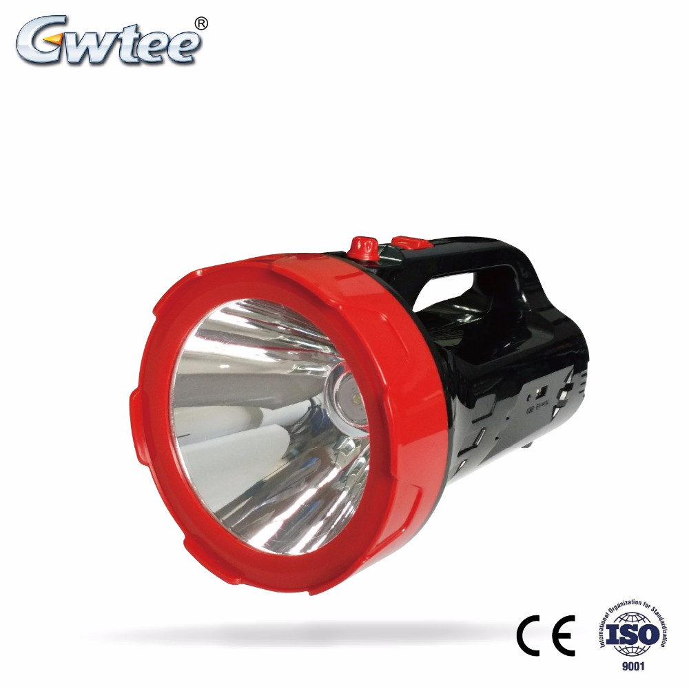 Rechargeable powerful outdoor led searchlight with side emergency light
