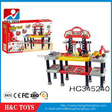 Wholesale plastic diy workbench bricolage tool toy set for kids HC345240