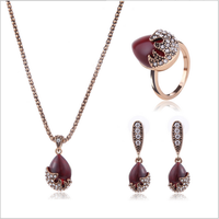 Queena Ladies Water Red Drop Shape Gold Necklace Earring Ring Jewelry Sets