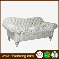 Custom made European style chesterfield white faux leather sofa