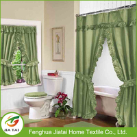 double swag shower curtain with valance,bathroom window curtains