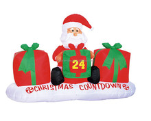 180cm/6ft polyester Christmas inflatable, Santa Claus with big gift boxes